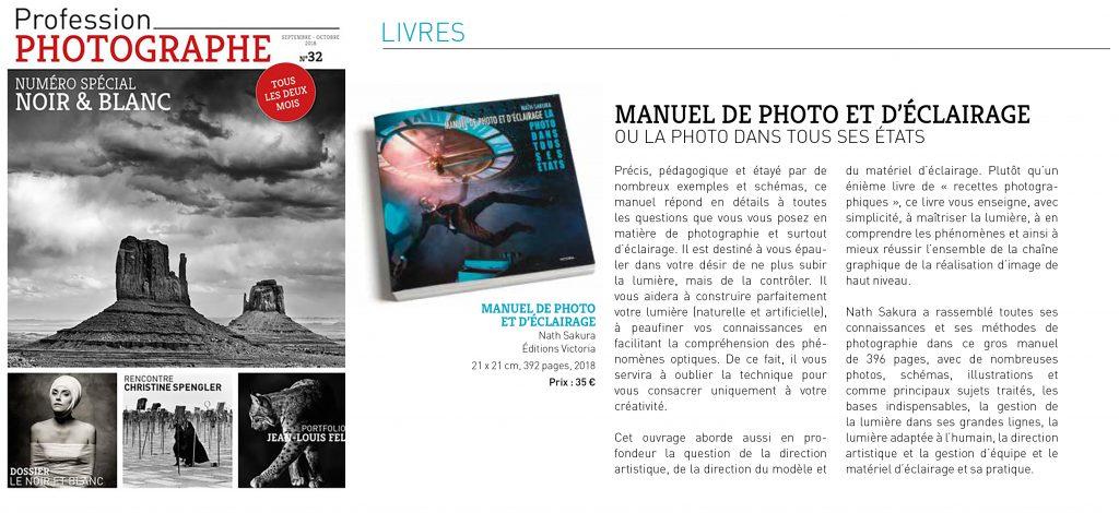 Un article sur le nouveau livre de Nath-Sakura dans profession photographe.